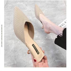 pantoufles net lavande et demi Baotou paresseux femmes portent 2019 été nouveau talon aiguille tricot a sandales à talons sexy automne