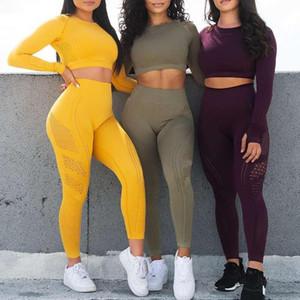 Femmes Yoga Set Gym Sen soudure 2 Pièce Support Pantalon High Taille et Chemises Sport Fitness Ultra Strech Sports Sports Taille des États-Unis