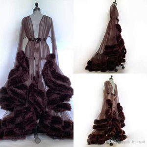 2020 Wedding Night Robes Sexy Voir à travers manches longues en fourrure ruban Sash Robes de nuit pour les femmes Porter Personnalisées femmes pyjamas de nuit