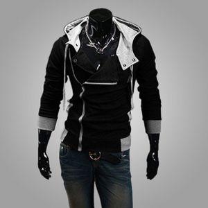 Мода Side Zipper Лоскутная Толстовки Мужские повседневные Assasins Creed Одежда мужская худи и толстовки sudadera Hombre