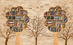 Photo faite sur commande Fond d'écran 3D stéréoscopiques librairie livre original nostalgie Chambre Sofa Backdrop Photo murales Fond d'écran