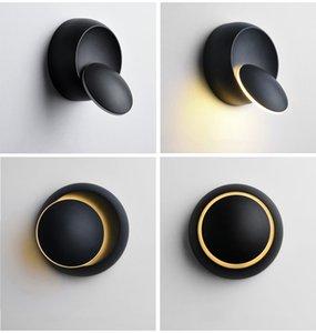 실내 LED 벽 램프 360도 회전 조절 침대 옆 조명 흑백 창조적 인 벽 램프 블랙 현대 통로 라운드
