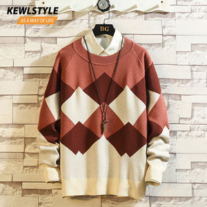 Геометрия узор большой вязаный свитер Crewnecks мужские Осень Зима длинный рукав свободного покроя трикотаж пуловер мужчины MY13