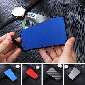 Titolare di credito Banca Card Protection in fibra di carbonio Anti Theft Rfid coperture Blocco Wallet Porte Carta di caso del metallo di corsa