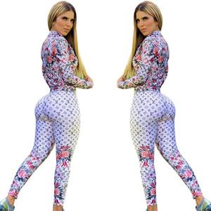 Бесплатная доставка новый женский модный цветочный принт спортивный костюм повседневная тонкая куртка и брюки комплект женский 2шт наряды XXL