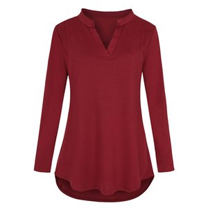 Pregnancy Tee Women Solid color Plus Size Casual Dress Maternity Long sleeve V-neck Casual Clothing embarazada Large Size 2019