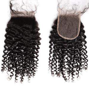 """HD Lace Closure Curly Weave 4x4 Top Closures com o cabelo do bebê da Malásia Humanos Virgens pieses Cabelo 8 """"-26"""" frete grátis Bella cabelo"""