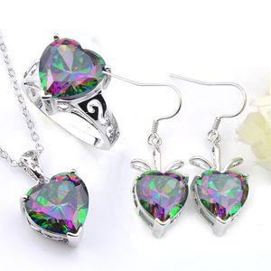 L'insieme dei monili di moda Luckyshine 3Pieces / Cuore arcobaleno Topaz mistico gemme collana d'argento 925 donne stabilite anelli orecchini set Matrimoni partito