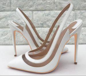 Sandalias blancas de PVC Cemento de vidrio Espalda dorsal Cúspide Tacón fino Zapatos de tacón alto para mujeres 10 cm Código grande 44 vestido Club nocturno Boda Zapatos inferiores rojos