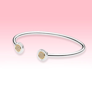 14K chapado en oro de joyería abierto pulsera del brazalete de verano para las mujeres pulseras de diamantes reales Pandroa 925 Plata Gemelos CZ con la caja original
