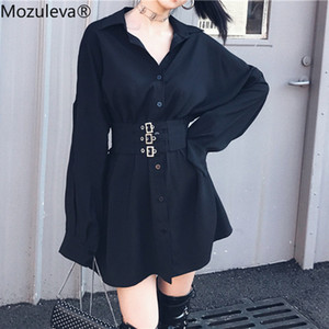 Mozuleva Spring Black Schärpen Damen Shirt Feminine Bluse Top-beiläufige dünne Taille Weiblich Hemd Mode Frauen Blusen blusas mujer