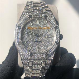 15400 Алмазный Часы Человек Часы высокого качества Iced Out часы Автоматическая Hip-Hop Set Алмазный Водонепроницаемый 41mm 316 нержавеющая сталь стреловидности Move Silve