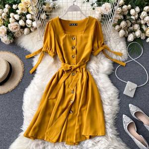 2020 botón de partido del vestido del vendaje corto verano Teeuiear delgada de las mujeres de cuello cuadrado VESTIDOS Ropa casual Vestido De Fiesta A-Line