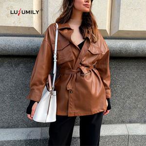 Lusumily 2020 Brown PU-Leder-Jacken-Frauen arbeiten Faux Mäntel weibliche kühle elegante Krawatte Gurt-Taillen-Taschen Buttons Jacke Damen