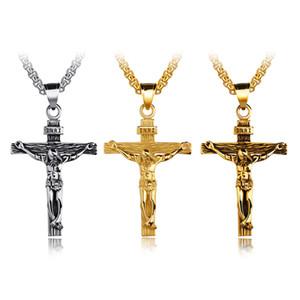 Мужская подвеска-крест из нержавеющей стали с крестом Иисуса Христа, круглая коробка-цепочка