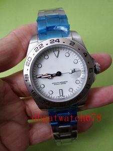 Montres de Luxe Mens Watch EXP 16570 cadran blanc sport montre-bracelet pour hommes Montres en acier inoxydable de fermoir pliant