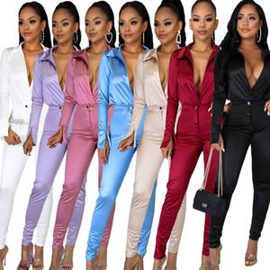 Charmoso Mulheres cetim Outfits 2020 New Arrivals profunda V Neck Bodysuit shirt + Calças de cintura alta Two Pieces partido Clubwear Define 7 Cores Em Stoc