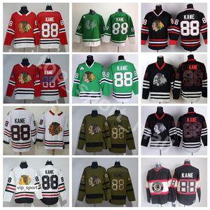 El más nuevo 88 Patrick Kane Jersey Hombres Skull Black Ice USA Flag Salute to Service Green Winter Classic Chicago Blackhawks Hockey Jerseys