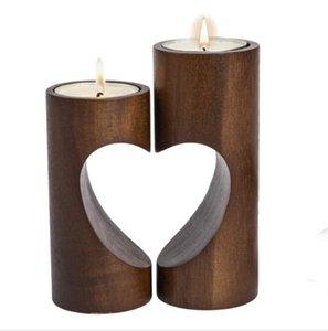 Al por mayor de la vela Corazón de madera titular de la decoración de la boda dulce de los titulares de la tabla creativa de la vela de té cuadrada sostenedor de vela de la lámpara de madera