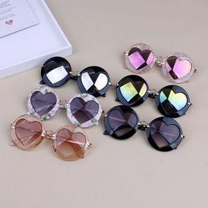 Kid Meninos Meninas Retro Coração da praia Brinquedos Óculos Exteriores Crianças Óculos de sol UV400