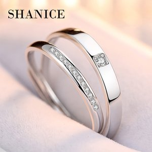 SHANICE New CZ 925 sterling silver open couple ring men & women finger promise for lovers love band wedding engagement jewelry