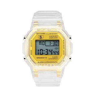 Genuine esportes impermeável relógio eletrônico Multi-funcional estudante relógio Casal populares senhoras assistir display digital transparente Moda