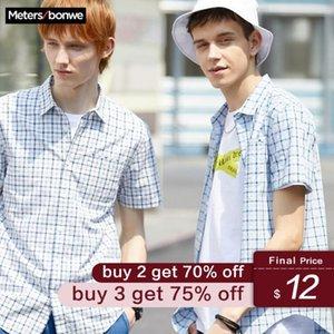 Metersbonwe Men's Short Sleeve Plaid Shirt 2020 New Summer Student Trend leisure cotton Male Shirt
