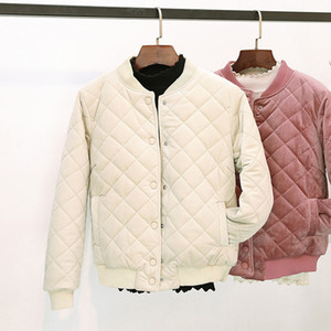 2019 Rhombus Embossing Winter Parkas Women Jacket Cotton Warm Thick Lady Peluche Baseball Coat Female Outwear Overcoat Clothing
