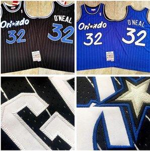 homens OrlandoMagia32 ShaqO'Neill MitchellNess 1994-95 amarelo de basquete negro branco Jersey e calça