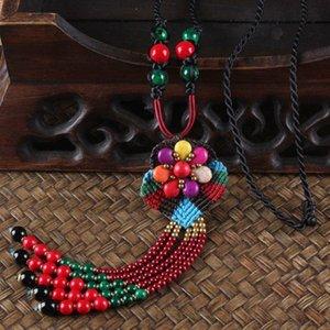 Bohemian Statement Necklace Hand Weaving Long Flower Choker Dropshipping Tassel Bead Collier Bib Statement kolye Choker Necklace