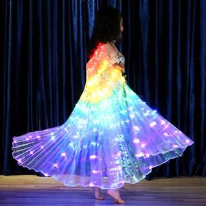 Crianças Dançarinos Led Desempenho fluorescentes asas da borboleta barriga Shows trajes de dança Bellydance Carnaval Led Natal # T1G