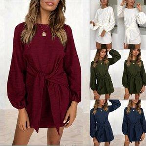 de equipo de las mujeres del algodón del otoño invierno de cuello de manga larga elegante de punto ajustado de cintura del lazo del suéter vestido del lápiz S-XL del tamaño extra grande
