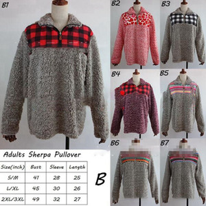 Women Sherpa Pullover 25 Colors Buffalo Plaid Sunflower Leopard Printed Patchwork Warm Zipper Tops Fleece Outerwear Coats 35pcs OOA7292-3