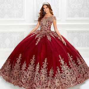 Gorgeous Tassels Beaded Ball Gown Quinceanera Dresses Bateau Neck Lace Appliqued Prom Gowns Sequined Sweep Train Tulle Sweet 15 Dress