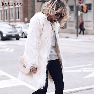 Rebicoo short long-sleeved Plus size coat solid color warm women winter coat fashion cardigan Artificial fur jacket