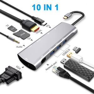 USB-Hub C, 10-in-1-Typ-C-Hub mit Ethernet-Anschluss, USB-4K-C HDMI, VGA, 3 USB 3.0 Anschlüsse, Portable für Mac Pro und anderen Typen C Laptops
