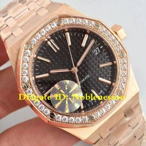 4 Color Ladies Top Rose Gold 37mm Black Dial Diamond Bezel Swiss CAL.3120 Movement Automatic 15451OR 15451O JF Maker V5 Edition Watches