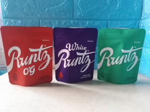 2020 Mais novo Runtz Runtz Mylar Bag 3.5g Roxo Zíper Erva seca Embalagem Stand Up Bolsa Com Etiqueta Etiqueta DHL Rápido