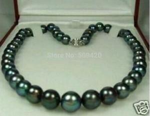 Envío Gratis> 8-9mm Tahitian negro Natural collar de perlas 18