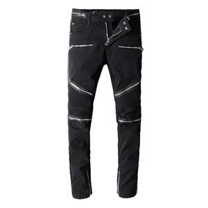 Balmain-Mann-Jeans Motorradfahrer Muster Jean-Felsen Widening Fattening Ripped kühles Muster Mottled Wahre Hosen Designer-Frauen-Jeans