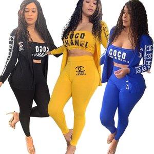 Geben Sie Schiff 2019 Herbst-Frauen-Mode Brief drucken 3tlg Set beiläufig dünnen Strickjacke + Crop Bra + Pants Set Lady Outfits