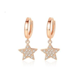 Tiny Trendy Zirconia star Drop Dangle Earrings gold Round Small Hoop Earrings For Women Fashion Jewelry orecchini cerchio
