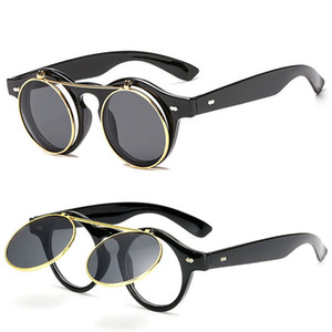 Óculos de sol Para Homens Mulheres Moda Sunglases Mulheres Retro Óculos De Sol Dos Homens Rodada Óculos de Sol Unisex Flip Circular Designer Óculos De Sol 8K1D87