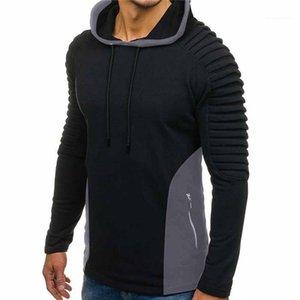 Moda Mens Apparel Outono Mens Painéis drapeado Designer Hoodies Magro pulôver Zipper camisola manga comprida