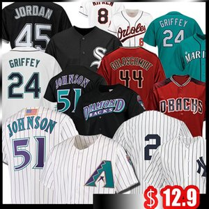 51 Randy Johnson Jersey 44 Paul Goldschmidt Jeter Ken Griffey Jr 51 Ichiro Suzuki Baseball Jersey