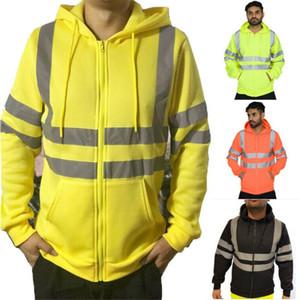 3XL Plus Size Mens Hoodie Felpa con cappuccio Maglia maniche zip lunga Pullover Giacca Cappotto invernale Work aumento della temperatura di sicurezza indossare abiti