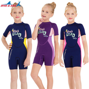 2.5mm Neoprene Short Sleeves Kids Wetsuits Diving Suits for Boys Girls Children Rash Guards One Piece Surfing Swim Snorkeling