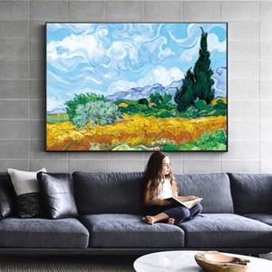 Campo di grano con cipressi di Van Gogh dipinto sul muro impressionista parete di paesaggio di arte della tela di canapa della decorazione della casa 190.929