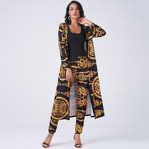 Deux pièces de costume pour les femmes Bussiness Commute impression Retro Palais Slim travail à long tricot extensible 2 Accueil Pantalons Piece