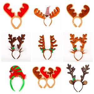 Noel Bell Çocuk Kız Kıllar Toka Parti Dekoru Şapkalar sahne ile Karikatür Noel Antlers hairbands pazen saç bandı FFA3007
